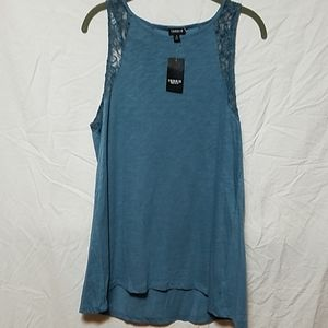 Torrid Dusty Blue Tank with Lace Accents